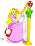 Princess Peach playing the harp by nintyalex