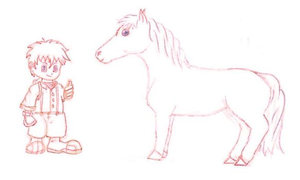HM: AWL Rowen and horse (sketch) by Fullmetal-Heroine