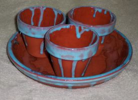 Three Small Pots And Saucer, Sky Blue by Vivienne-Mercier
