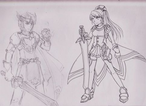 Mihile and Dawn Warrior Maplestory by littlegardengnome