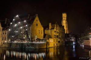 Dijver and Belfort tower at night by roman-gp