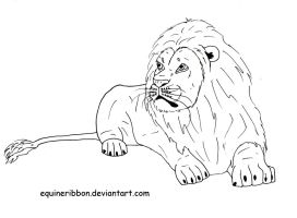 Lion Lineart by EquineRibbon