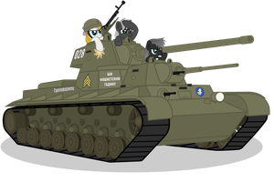 Growing children run heavy tank SMKM by DolphinFox