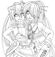 Thorned Rose x Moonlight Butterfly - Lineart by Cleopatrawolf
