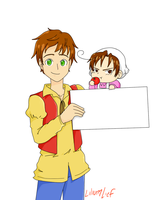 Hetalia Blank Sign: Spain and Chibi Romano by LiliumLief