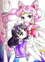 Chibi-Moon and Saturn by Fuyou-hime
