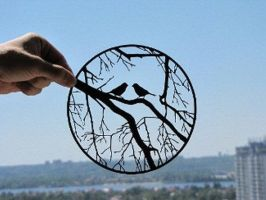 Birds On Tree Branches Handmade Original Papercut by DreamPapercut
