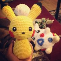 Pikachu and Togepi Crochet WIP by SirPurlGrey