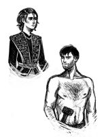 Sketch: Arya and Gendry by aqvarelles