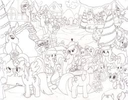 Christmas Ponies Inks by Paul-Lucas