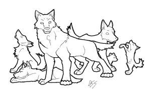 Wolf Pack Lineart - Free by DeadSoundlessScreams