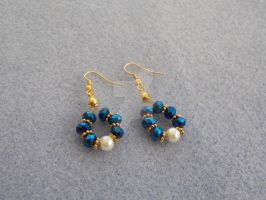 Navy AB, ivory and gold glass beads earrings 293c by Quested-Creations