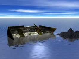Sinking Boat background by mysticmorning