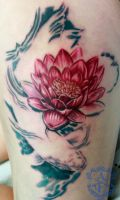 Lotus and Fish Tattoo (Work In Progress) by seanspoison