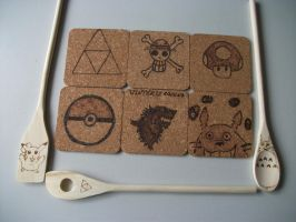 Otaku Kitchen Spoons and Coasters Pyrography by weisewoelfin