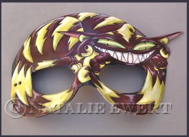 Curled Cheshire Cat Leather Mask by natamon