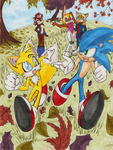 Sonic and Tails: Autumn Run by WingedHippocampus
