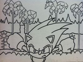 Sonic the Hedgehog Green Hill Zone Act 1 outline by sampson1721