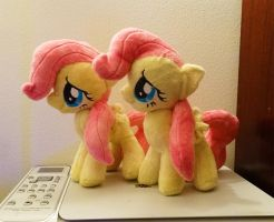 Shy Little Twins :Fluttershy Plushies: by AppleDew
