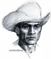 Cowboy drawing done from the TV by bearsclover