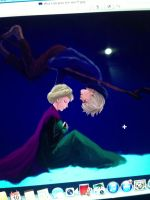 Elsa and Jack Frost my color work in 3 years!Step1 by Snowcupid