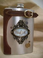 Drink Me -Steampunk Flask by Justenjoyinglife