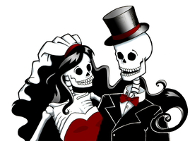 Skeleton Bride and Groom Color by Sareidia