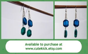 Zelda Glass Rupee Dangle Earrings by cutekick