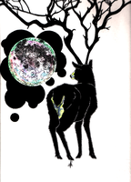 Deer + Moon by Necron56