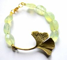 Bronze and Gold Ginkgo Faceted Prehnite Bracelet by AknieGirl