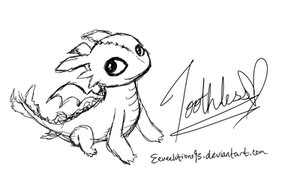 Toothless Chibi Sketch by Eeveelutions95