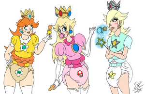 Mushroom Kingdom's Diapered Princess Trio by TheLittleDiaperGirl