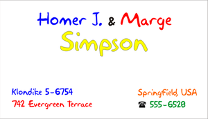 Simpsons Business Card by CmdrKerner