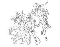 The Heart of Roses: Main Characters: Lineart by Hero-of-Awesome