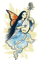 Fairy playing the pipa 2 by Mikadze