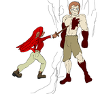 Bella and Azrail fighting test drawing by charly5750