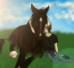 .::Emo-boy and his horse::. by BambooFoxFire
