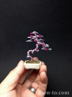 3-tone pink literati wire bonsai tree by Ken To by KenToArt