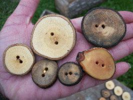 Mixed Wood Button Lot. 24 by PymatuningCrafts