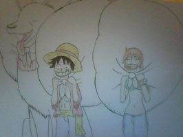 OP2Y: Luffy, Nami, and Blizzard Go to Town by XfangheartX