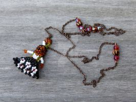 Beaded doll copper and beads long necklace by Lady-Kiwi