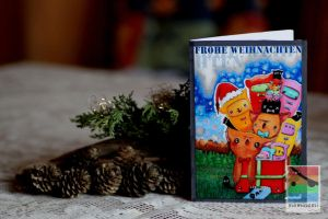 the cat christmas card by mominomi
