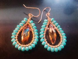 wire and bead earrings by teddy529