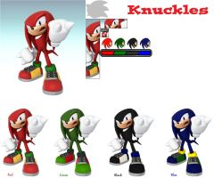 Knuckles' SSB4 Colors by ZaneTheDragon