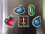 Legend Of Zelda Cross Stitched Magnet Set by mandasapanda