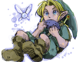 Young Link and Ocarina by DC9spot