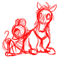 Ratessa and Horse WIP by Ithlini