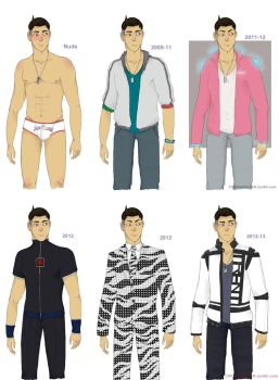 Trent's many outfits by CHIOtheFALLEN