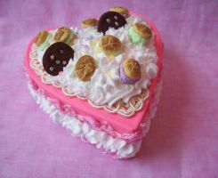 Pink Hearts Sweet Cake Box by TheBloodMaiden