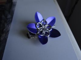 Scale mail flower hair pin by Hiddendemon-666